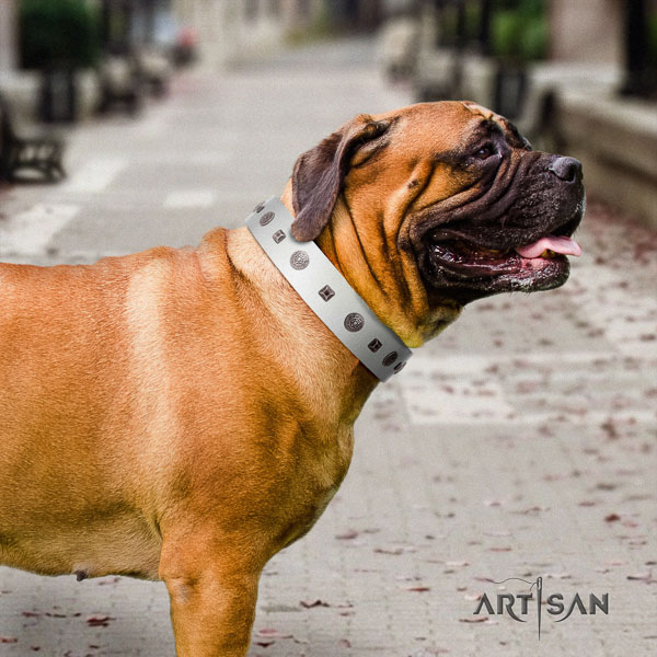 Bullmastiff easy adjustable full grain genuine leather collar with decorations for your canine