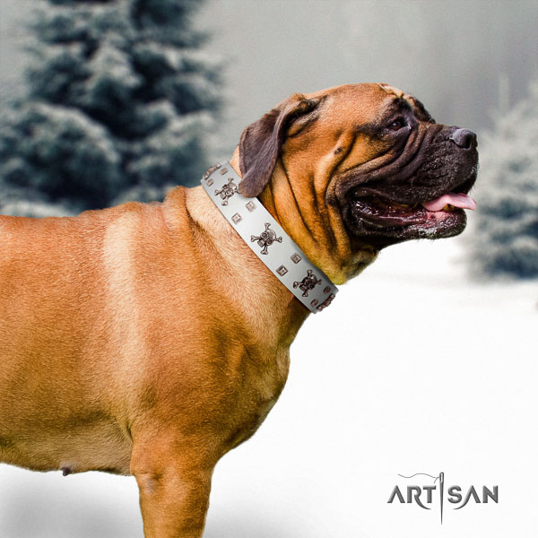 Bullmastiff easy adjustable full grain genuine leather collar with adornments for your pet