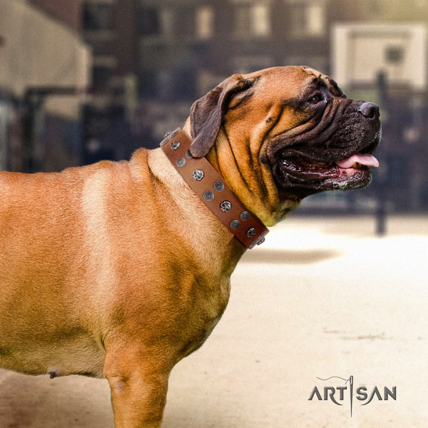 Bullmastiff impressive natural genuine leather collar with decorations for your pet