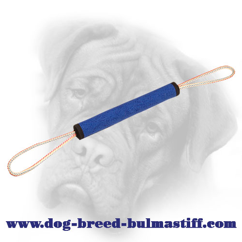 French Linen Bullmastiff Puppy Bite Roll with 2 Loops