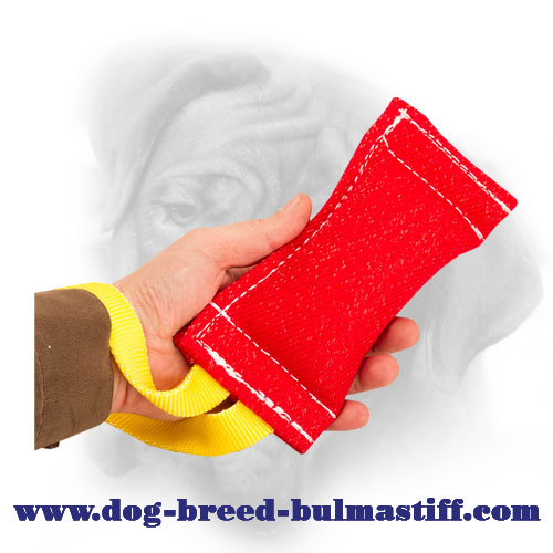 Quality French Linen Bullmastiff Bite Tug with a Nylon Handle