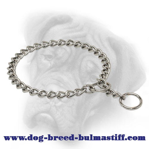 """Reliable Trainer"" Chrome Plated Bullmastiff Choke Chain Collar - 1/8 inch (3,5 mm)"