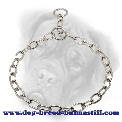 """Anti-Jerking"" Chrome Plated Bullmastiff Fur Saver Collar - 1/8 inch (3.2 mm)"
