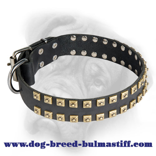 Handcrafted Caterpillar Leather Collar for Bullmastiff