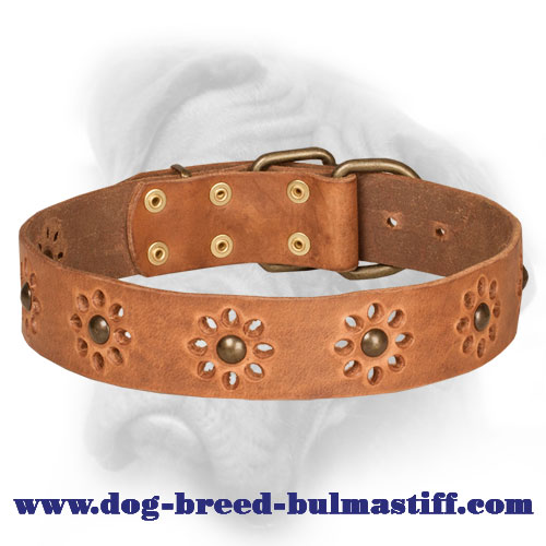 Trendy Genuine Leather Bullmastiff Collar with Punched Flowers