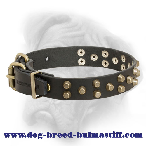 Chic Leather Bullmastiff Collar with 3 Rows of Brass Pyramids
