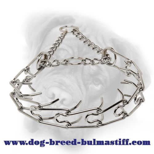 Chrome Plated Pinch Collar for Bullmastiff Behavior Correction - 1/10 inch (2.3 mm)