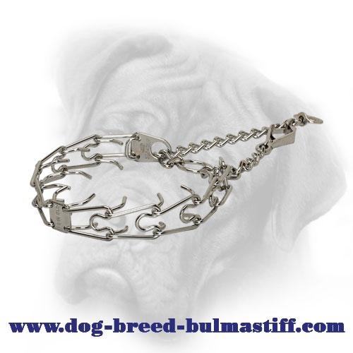 Chrome Plated Silver-Like Bullmastiff Pinch Collar with a Scissors-Like Snap Hook - 1/6 inch (3.9 mm)