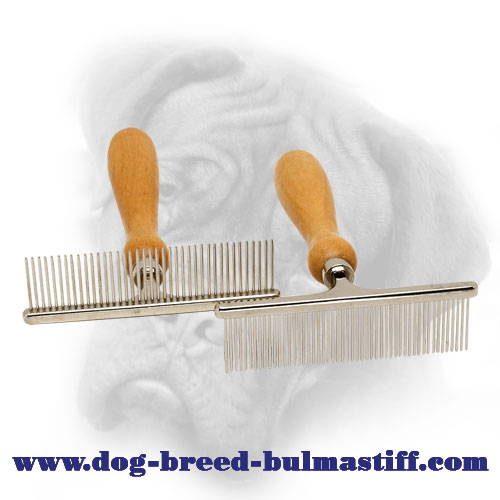 Easy Grooming with Bullmastiff Metal Brush of Chrome Plated Steel and Wood