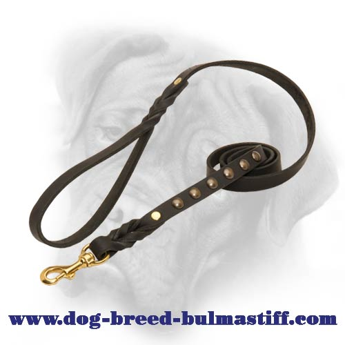 Deluxe Studded and Braided Leash for Bullmastiff
