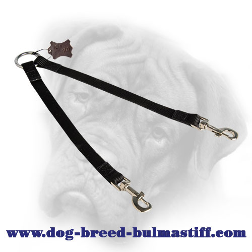 Quality Nylon Bullmastiff Coupler Leash for Walking Two Dogs