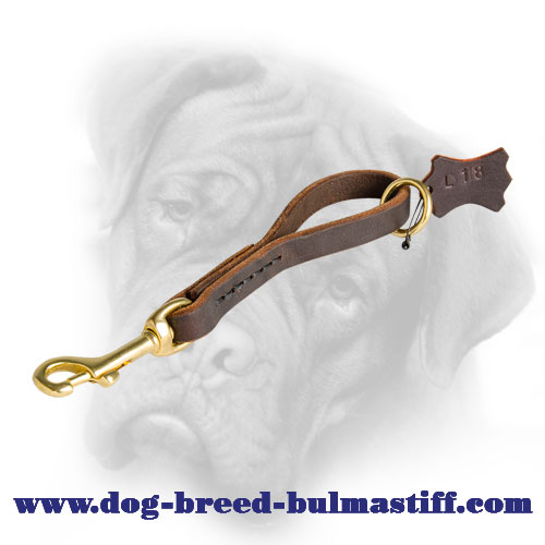 Easy Fast Grab Short Leather Leash for Bullmastiff Breed