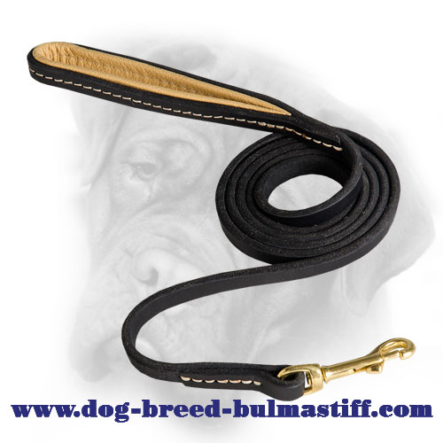 Multitask Leather Bullmastiff Leash with Nappa Padded Handle