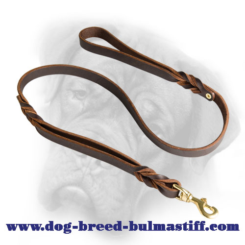 Leather Bullmastiff Leash With Extra Handle