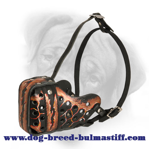 "Hand Painted ""Magma"" Style Leather Bullmastiff Muzzle"
