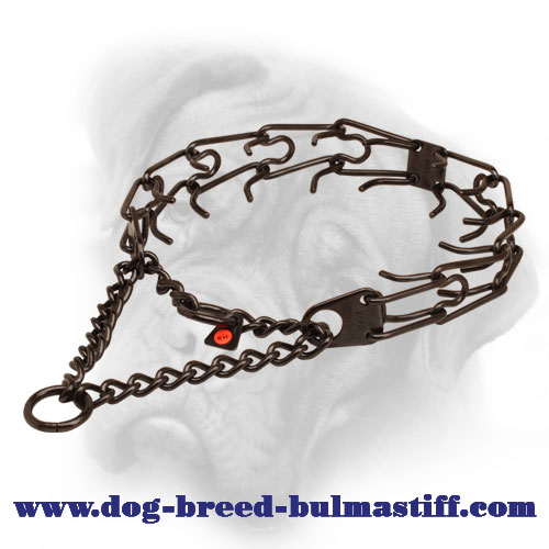 Black Stainless Steel Herm Sprenger Bullmastiff Pinch Collar - 1/8 inch (3.2 mm)