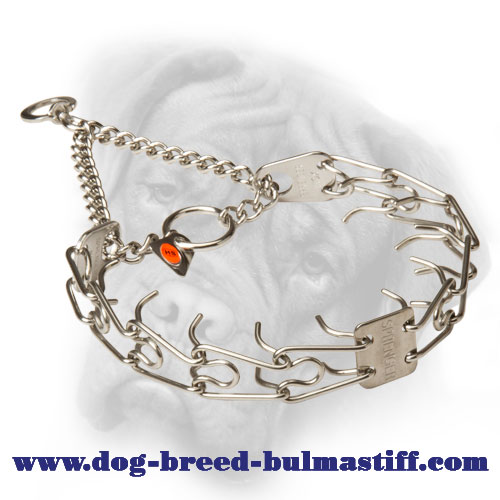 Chrome Plated Bullmastiff Pinch Collar with 2 O-rings - 1/8 inch (3.25 mm)