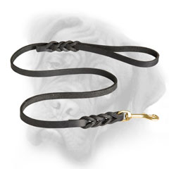 Bullmastiff leash with braided adornment
