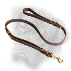 Incredibly strong leather Bullmastiff leash with braids
