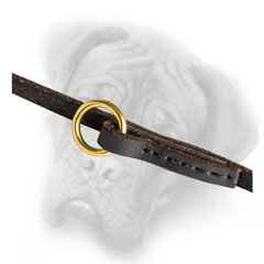 Leather Bullmastiff leash with brass O-ring