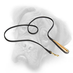 Leather Bullmastiff leash with brass snap hook