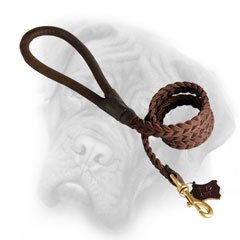 Comfortable Bullmastiff leash with round handle