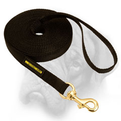 Nylon Bullmastiff leash with brass snap hook