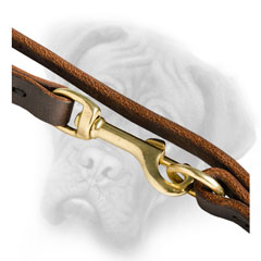 Bullmastiff leash with 2 brass snap hooks